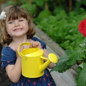 Child watering plants in the garden
